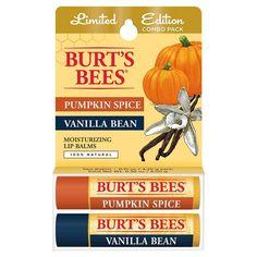 Burt's Bees Lip Balm Vanilla Bean and Pumpkin Spice Blister Box 2 ct
