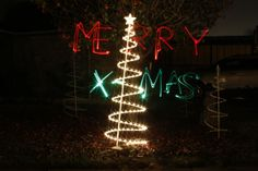 Went outside and took a pic of one of my outside Christmas decorations and wrote Merry X-Mas