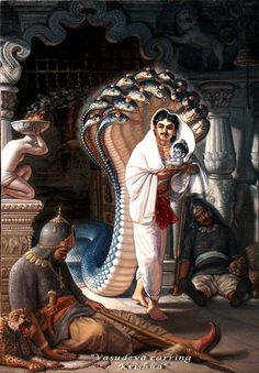 Vasudeva, protected by Sesha Naga, sneaks out of Kamsa's prison with Krishna who appeared in the form of a baby