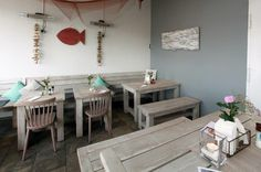 Outdoor Möbel Fisch-frisch inszeniert. Wir statten Alice Restaurant in Friedrichskoog aus. http://www.schnieder.com/gastronomiemoebel/outdoor.html