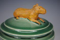 Capybara Pot by carolynsjing on Etsy Capybara, Color Glaze, Candy Dishes, Sugar Bowl, Safe Food, Stoneware, Sculpting, Ceramics, Pottery Ideas