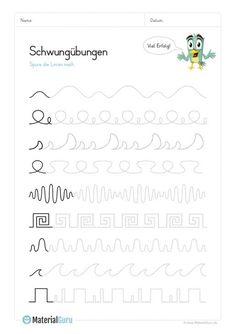 Schwungübungen - Lynne Seawell's World 100 Chart Printable, Teaching Kids, Kids Learning, Learning Activities, Activities For Kids, Kindergarten Portfolio, Neat Handwriting, Beginner Sewing Patterns, Social Studies Worksheets