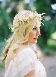 An astilbe flower crown #weddinghair   Brides.com
