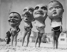 Giant, creepy papier-mâché masks from the Venice Beach Mardi Gras Festival in… Creepy Vintage, Vintage Halloween, Halloween Ideas, Illustration Photo, Illustrations, Venice Beach, Vintage Photographs, Vintage Photos, Laurence Amelie