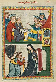 Clothing of the first half of the 14th century is depicted in the Codex Manesse. In the lower panel, the man is dressed as a pilgrim on the Way of St James with the requisite staff, scrip or shoulder-bag, and cockle shells on his hat. The lady wears a blue cloak lined in vair, or squirrel, fur.
