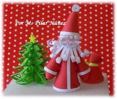 3d Quilled Santa his sack and Christmas tree by M .Pilar Núñez - Chile