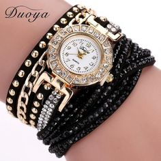 Duoya Watch Women Brand Luxury Gold Fashion Crystal Rhinestone Bracelet Women Dress Watches Ladies Quartz Wristwatches - cubic zirconia jewelry