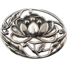 Vintage Sterling Silver Lotus Water Lily Pin