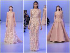 Blush color lace dress Elie Saab Haute Couture Spring 2014 ss14 Paris Fashion Week