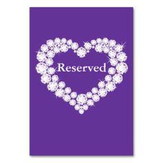 Wedding purple diamond heart table reserved table cards We provide you all shopping site and all informations in our go to store link. You will see low prices onThis Deals          Wedding purple diamond heart table reserved table cards Review from Associated Store with this Deal...