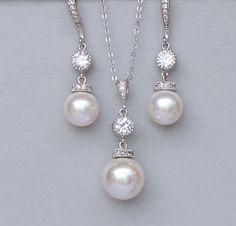 Ivory Pearl Bridal Jewelry Set Pearl Jewelry Set by JamJewels1