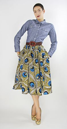 The Shavon -African Print 100% Holland Wax Cotton/Metallic Midi Skirt