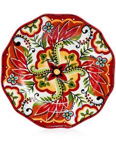 Espana Bocca Red Scalloped Salad Plate - Dinnerware - Dining & Entertaining - Macy's
