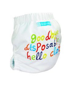 Charlie Banana - White 'Hello' Reusable Diaper  $14.99