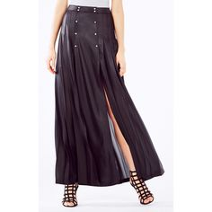 BCBGMAXAZRIA Lanae Pleated Maxi Skirt (330 CAD) ❤ liked on Polyvore featuring skirts, black, bcbgmaxazria, knife pleated skirt, knife pleat maxi skirt, black pleated maxi skirt and floor length skirt