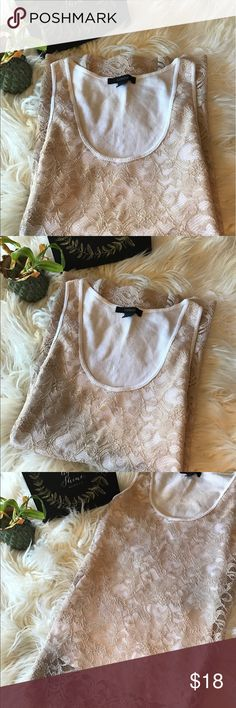 Express cream laced tank top Expressed cream laced tank top. Size L. Open to all offers 🎀 Express Tops Tank Tops