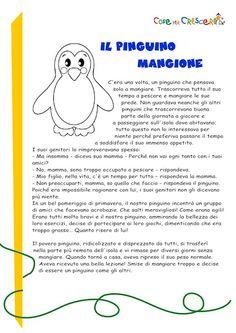 Il pinguino mangione: storia per bambini da stampare gratis Digital Story, Canti, Stories For Kids, Education, Aurora, David, Winter Time, Party, Learning Italian