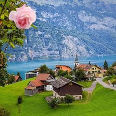 Beautiful view of Quarten and Walensee. Switzerland Vacation, Mountain Village, Make Pictures, Amazing Destinations, Dolores Park, Around The Worlds, Mountains, Explore, Instagram