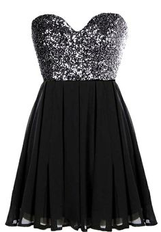 Glitter Fever Dress: Features a striking sweetheart neckline, sparkling charcoal sequin bodice, centered rear zip closure, and a beautifully gathered A-line skirt to finish.