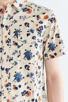 a72bb0da15 CPO Short-Sleeve Chambray Floral Button-Down Shirt  menshirts Camisas  Sociais