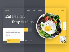 Healthyfy Landing Page UI landingpage uxdesign uidesign healthy food salad graphic icons dribbble minimal design website ui Food Web Design, Web Design Quotes, Web Design Tips, Web Design Company, Ui Design, Layout Design, Food Graphic Design, Design Ideas, Minimal Web Design