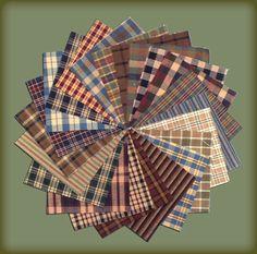 40 Cozy Homespun 5 inch Quilt Squares $6.99