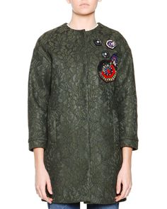 MSGM 3/4-Sleeve Lace Coat W/ Beaded Applique