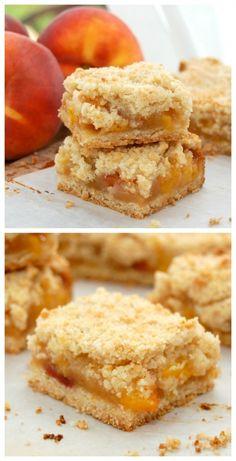 Peach Crumble Bars…quite possibly the BEST summer dessert! #peach #dessert