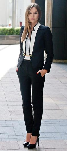 Modern Tux - Black skinny slacks & white button front blouse & B&W tux blazer with gold chain