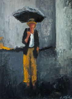 """Raining in Soho"" by Shelby McQuilkin abstract figurative oil painting"
