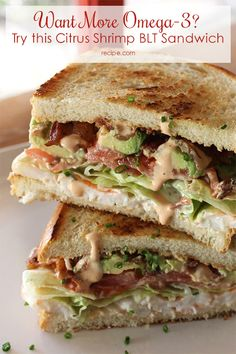 Give your #BLT a modern twist with #shrimp, #avocado, and a zesty dressing: - good idea