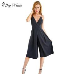 d558be4c3c1 Sexy Deep V-Neck Backless Solid Color Wide Leg Jumpsuits Women Sleeveless Rompers  Jumpsuit Casual Off Shoulder Overall Playsuit