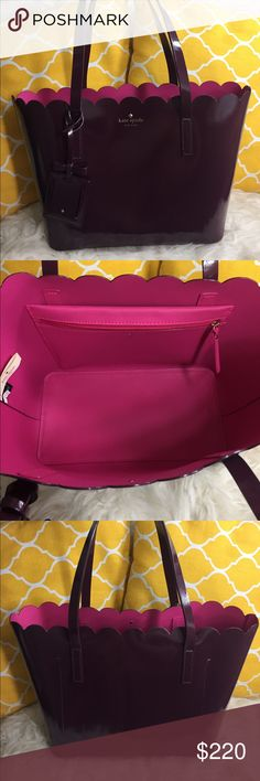 """🌸OFFERS?🌸Kate Spade All Leather BerryScalop Tote 🌷Authentic🌷Excellent shape. Minimal sign of use. Scuffs on side. All parts intact amd functional. Features top handle, pink interior leather wall, interior zip pocket,  scalop cut edges, metal feet for protection and a mirrored hangtag with adorable bow detail. Great size for everyday use. Not big and not too small. Carry it by hand/arm or shoulder. Don't be shy to make an offer💕 Dimensions: L14.5"""" H9"""" Bottom Width5.5"""" Handle Drop8"""" ✨Feel…"""