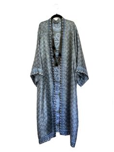Maxi length kimono jacket / beach cover up / kaftan in a blue