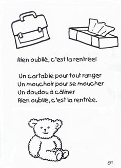 Petite comptine pour la rentrée. French Language Lessons, French Lessons, Nursery Activities, Preschool Activities, Fall Coloring Pages, French Classroom, Kindergarten Lesson Plans, Reading Worksheets, Teaching French