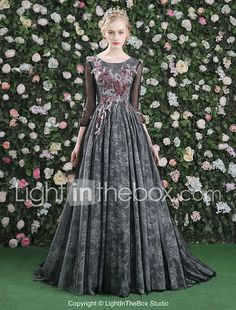 Formal Evening Dress - Floral A-line Jewel Sweep / Brush Train Lace Satin Tulle with Flower(s) Lace 2017 - $229.99