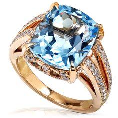 Blue Topaz and 7/8ct Diamond Ring in 18k Rose Gold (GH/VS-SI) - $1,699.99