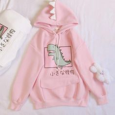 Cute Dinosaur Monster Hoodie - Best Picture For fashion outfits For Your Taste You are looking for something, and it is going to - Pastel Fashion, Kawaii Fashion, Cute Fashion, Fashion Outfits, Womens Fashion Online, Latest Fashion For Women, Kawaii Clothes, Cool Clothes, Kawaii Shirts