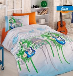 Lenjerie de Pat Single - Gitar Comforters, Blanket, Bed, Home, Quilts, Blankets, Stream Bed, House, Ad Home