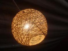 luminaria artesanal com barbante