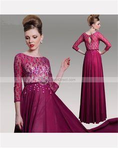 Amylinda A Line Bateau Three Quarter Sleeve Beading Lace Chiffon Floor Length Evening Dress - DinoDirect.com