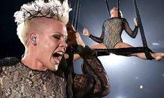 Pink swings upside down in daring acrobatic performance at Grammys