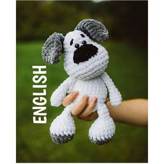 ATTENTION!! This is a pattern in ENGLISH make the dog, NOT the finished product! The big dog is about 30 cm (=12 inch) long The small dog is about 13 cm (=5 inch) long You have to know: MR = Magic Ring hdc = half double crochet sc = single crochet dec = decrease inc = increase