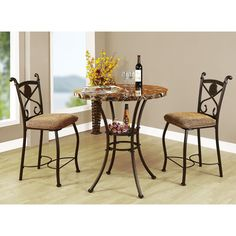 Acme Furniture Kleef 3-Piece Pack Counter Height Set, Faux Marble & Dark Bronze