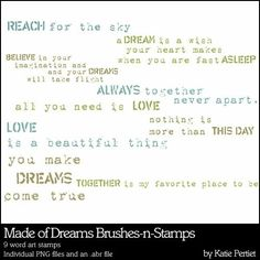 Made of Dreams Word Art Brushes and Stamps- Katie Pertiet Brushes- DS810248- DesignerDigitals