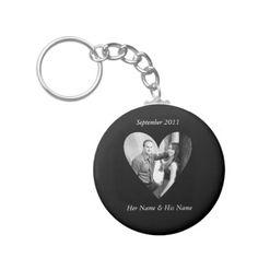 Wedding Photo Black Heart Keychain
