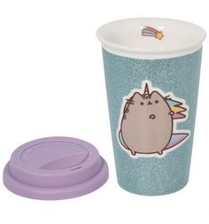 Glam up your coffee drinking activities with this snazzy Pusheen travel mug. We got cats, unicorns, glitter and rainbows all covered with this one. PURRFECT!!!