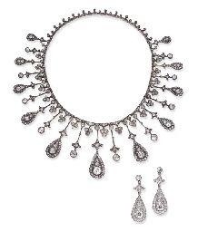 SUITE OF ANTIQUE DIAMOND JEWELRY