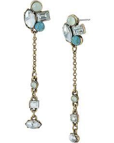MINT CLUSTER CHAIN DROP EARRING MINT accessories jewelry earrings fashion