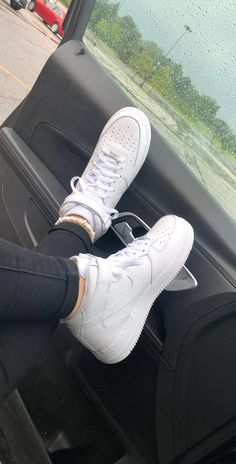 May 2020 - Womens Nike Air Force 1 High Casual Shoes Nike Air Force 1 Outfit, Nike Shoes Air Force, Zapatillas Nike Air Force, White Sneakers, Sneakers Nike, White Nike Shoes, White Vans, Black Shoes, Sneaker Outfits